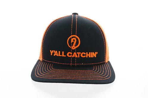Y'ALL CATCHIN' LOGO SNAPBACK CAP (Neon Orange/Black)