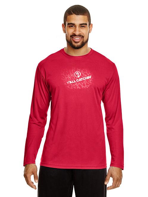 Y'all Catchin' Splash Logo Drifit Fishing Shirt (Sport Red)