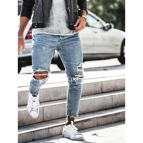 Ripped Skinny Jeans Destroyed Frayed Slim