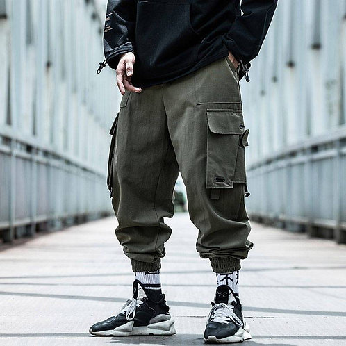 Black Cargo Pants Men Hip Hop Loose Pants Mens Spring Harem Pant