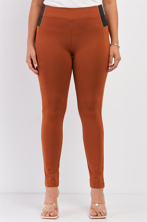 Plus Rubber Side Detail Lace Side Leg Legging Slim Pants