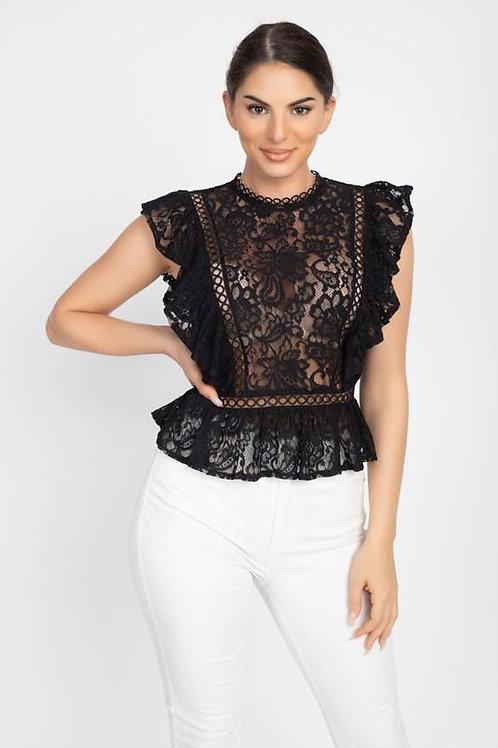Crochet Lace Ruffle Top  ID:JVT50070B