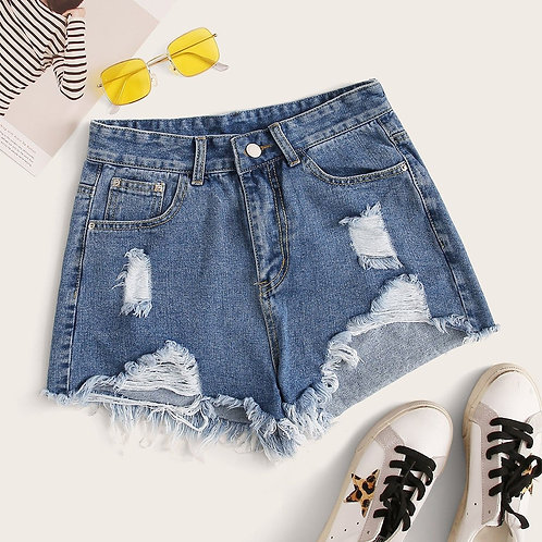 Plus Ripped Raw Hem Denim Shorts