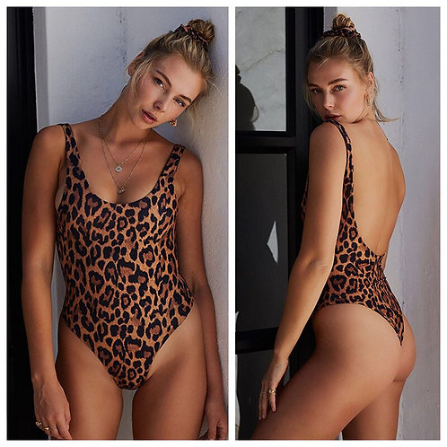 Push Up Monokini One Piece Suit Print Leopard