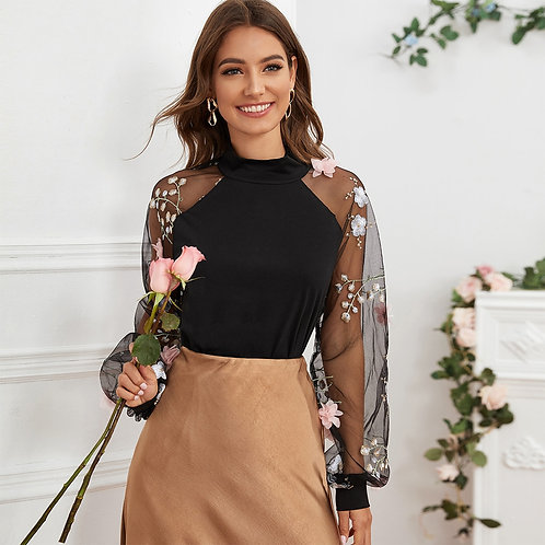 Embroidery Mesh Sleeve Stereo Flower Top