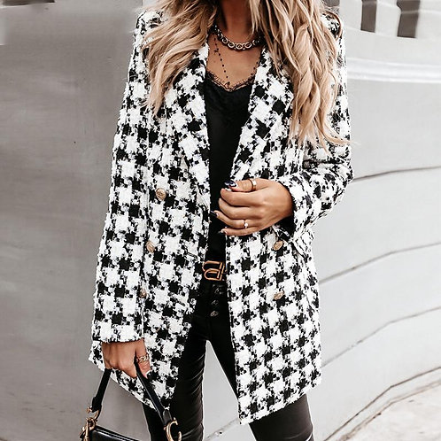 Plaid Women Tweed Jacket Long Sleeve Button Outerwear