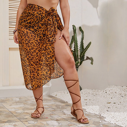 Plus Leopard Tie Side Cover Up Skirt