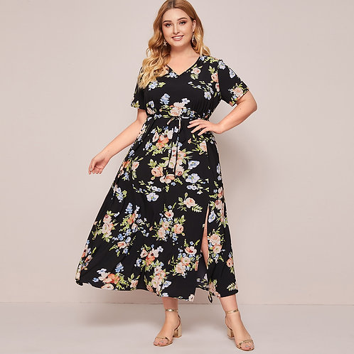 Plus Floral Print Split Thigh Belted A-line Dress