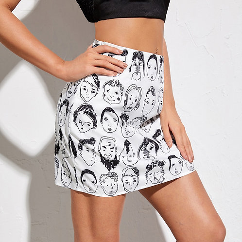 Allover Figure Print Skirt