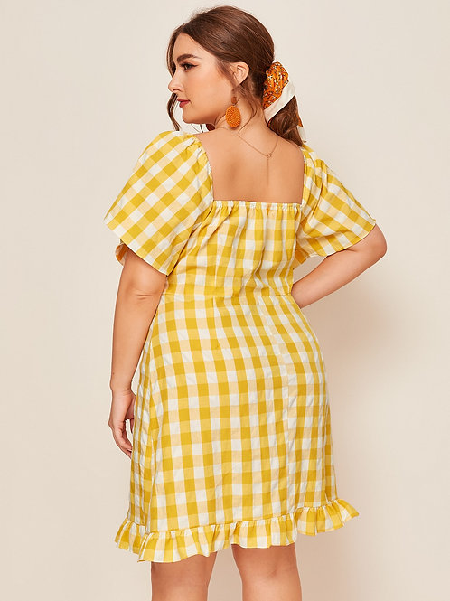 Plus Square Neck Ruffle Hem Gingham Dress