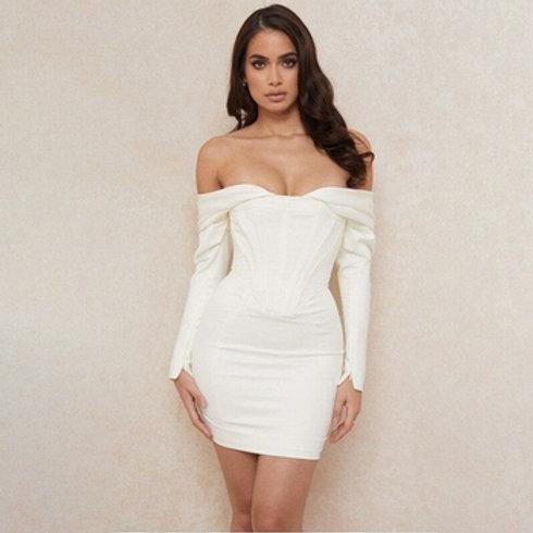 Off Shoulder Satin Strapless Zipper Split Dresses W