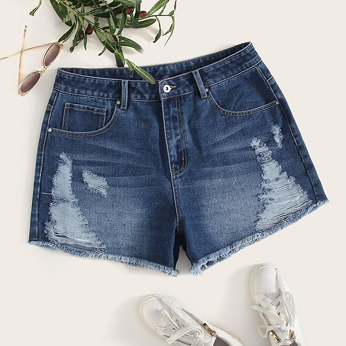 Plus Raw Hem Ripped Denim Shorts