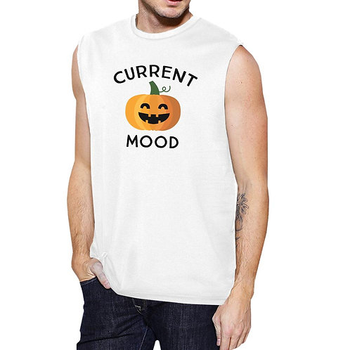 Pumpkin Current Mood Mens White Muscle Top