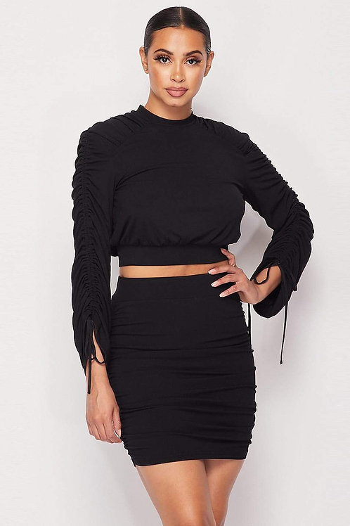 Black Ruched Long Sleeve And Mini Skirt Set
