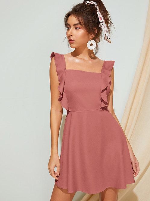 Solid Ruffle Trim Tie Back Dress