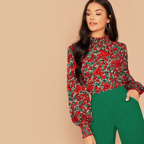 Shirred Neck Balloon Sleeve Floral Print Top