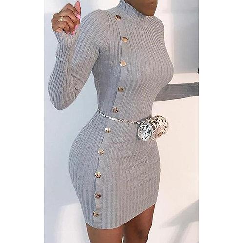 Single-button Long Sleeve Sliml Knitted Dress