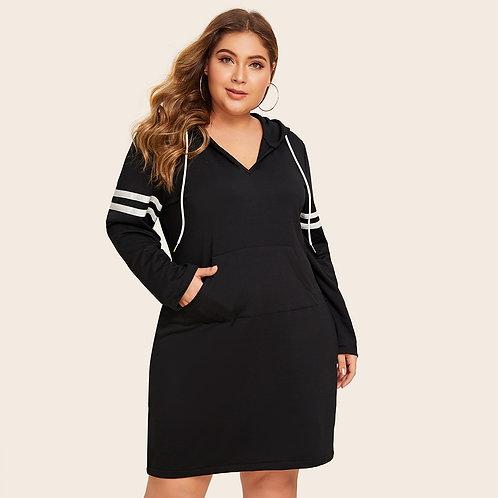 Plus Striped Tape Drawstring Hoodie Dress Without