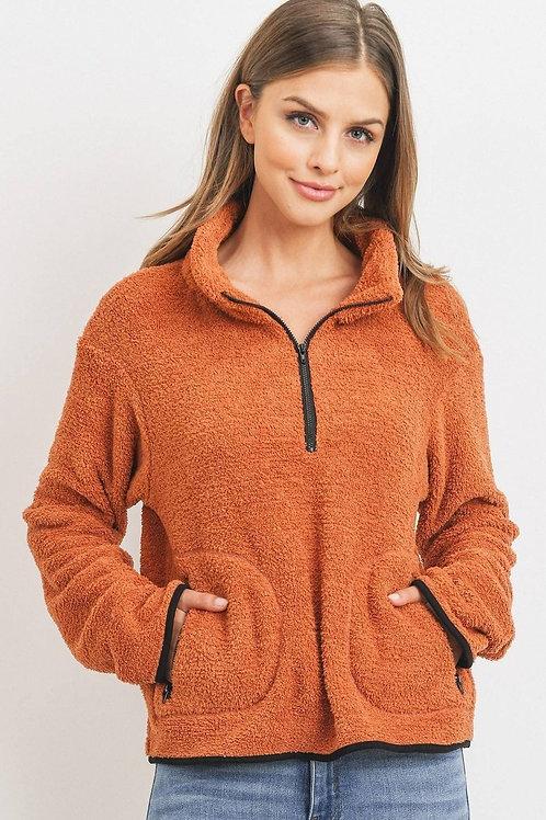 Long Sleeve Half Zipper Pullover Terry Women's Sweater