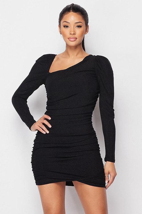 Black Asymmetrical Neckline Puff Sleeve Mini Dress