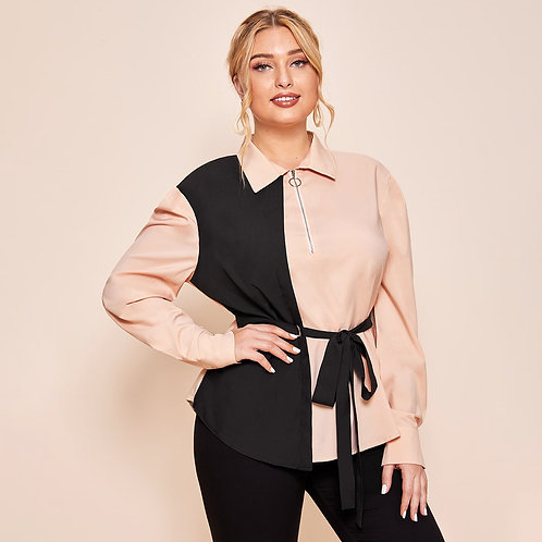 Plus Two Tone Collared Zip Half Placket Belted Top