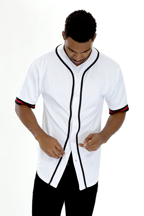 TAPED BASEBALL JERSEY- WHITE