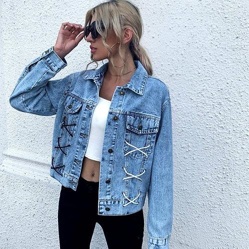 Loose Blue Jean Jacket Rope Denim Jacket