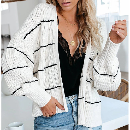 Striped Women Knitted Sweater Cardigan Coat