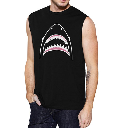 Shark Mens Black Lightweight Cotton Sleeveless Muscle Tank Top