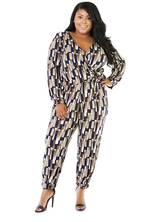 Plus size Stripe Jumpsuit