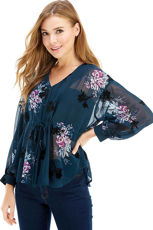 Button Front Cinched Tie Waist V-Neck Long Sleeves
