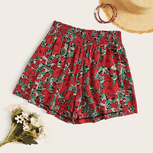 Plus Allover Floral Print Shirred Waist Shorts