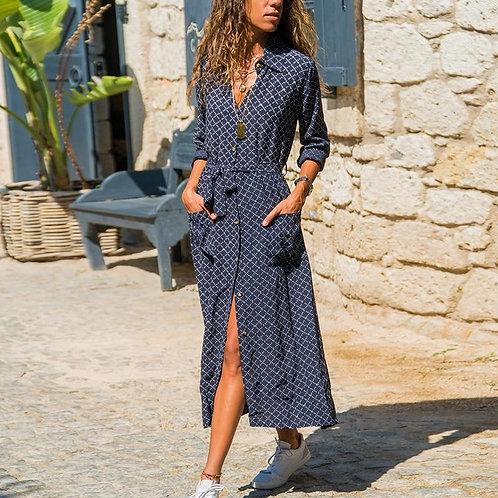 Women Casual Plaid Print Dress Sashes Mid Calf Sundress