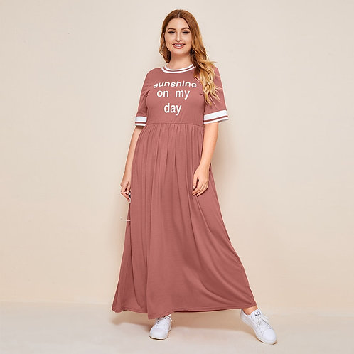 Plus Striped Trim Slogan Graphic Maxi Dress