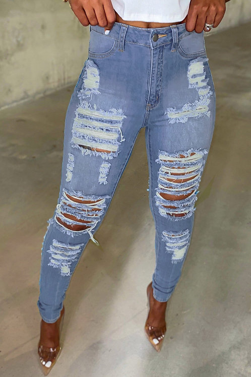 Light Blue Cut Out Distressed Ripped Pockets High Waisted Jeans