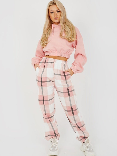 Checked Fleece Joggers - Checked Joggers - Pink