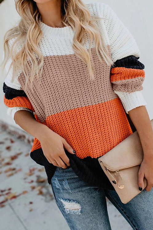 Casual Orange Colorblock Knitted Sweater