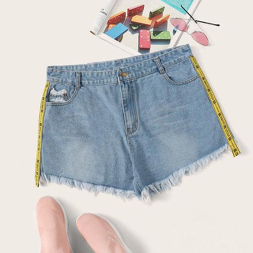 Plus Tape Side Raw Hem Denim Shorts