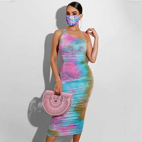 Tie Dye Print One-shoulder Sexy Bodycon Maxi Dress