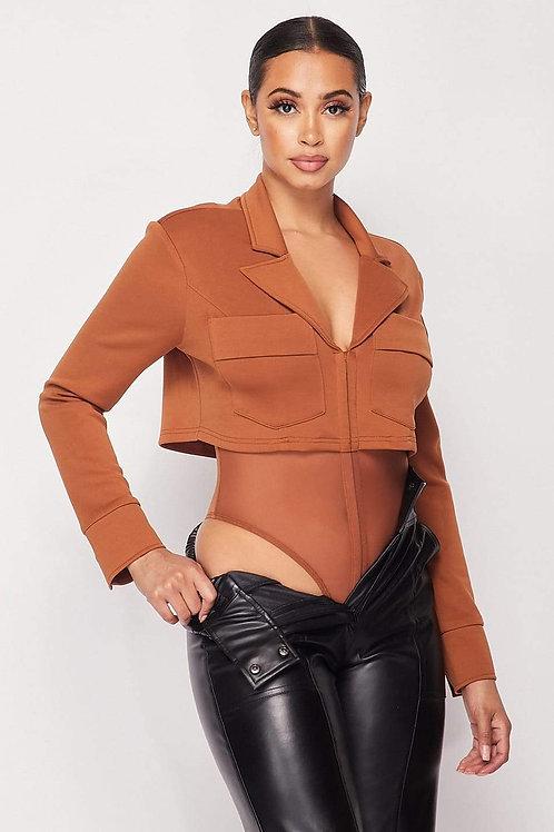 Deep-v Cropped Power Shoulder Blazer Bodysuit