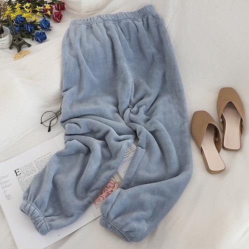 Heliar Women Velvet Pants Elastic Waist Outerwear Pajama Warm Pants