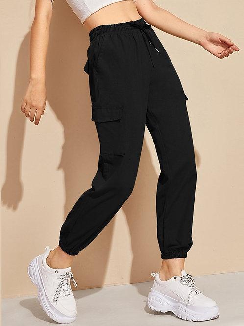 Flap Pocket Drawstring Waist Cargo Pants