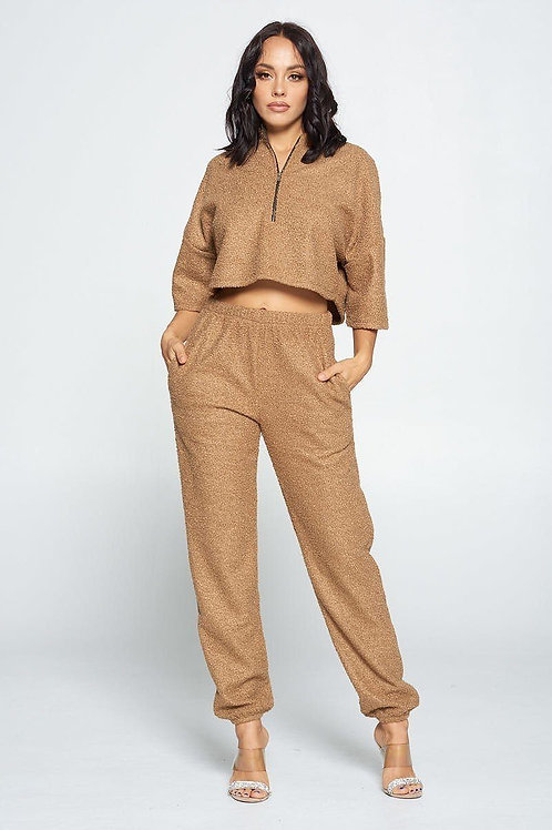 Brown Hang Top with Zip Up Front And Pant Set