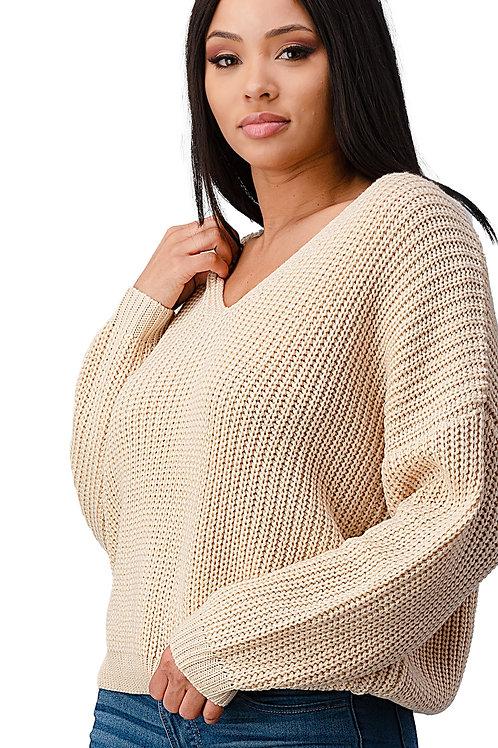Long Sleeve Lattice Oversize Pullover Sweater Top