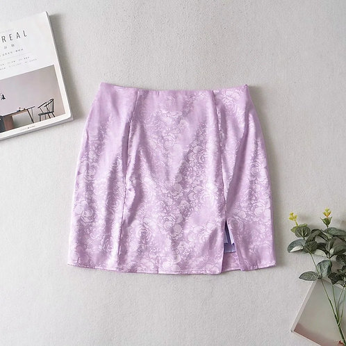 Sexy High Waist Purple Split Skirt