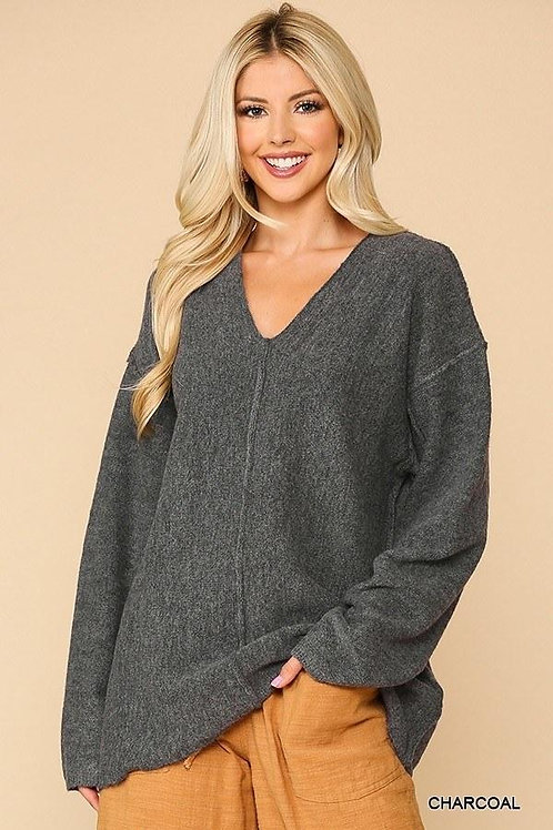 Long Sleeves V-neck Solid Soft Women's Sweater Top