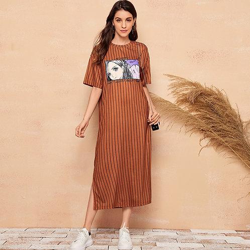 Slit Hem Figure Graphic Striped Dress