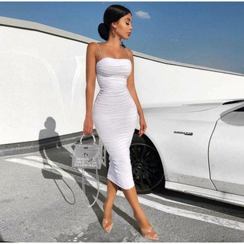 2 Layers White Summer Dress Women Elegant Ruched Maxi Dress