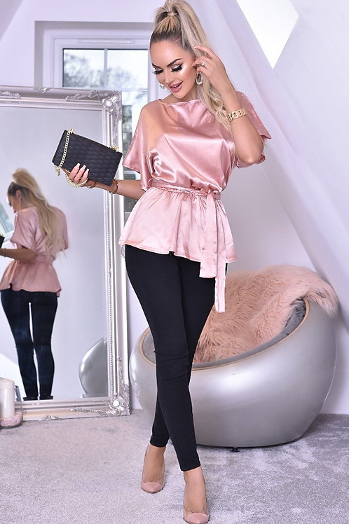 Elona Soft Satin Belted Batwing Top
