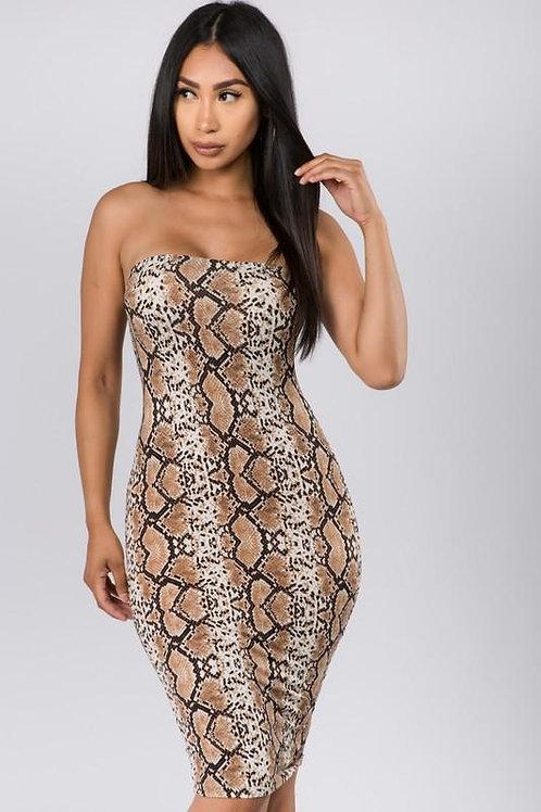 Snake Print Tube Dress